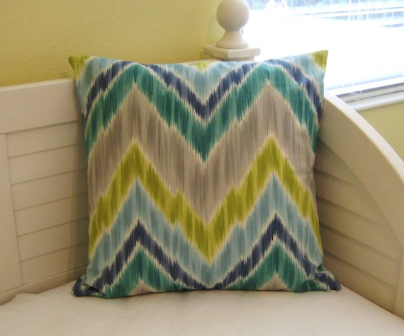 Custom Order for Rachel - Tribal Ikat Flamestitch in Aquamarine  Pillow Cover