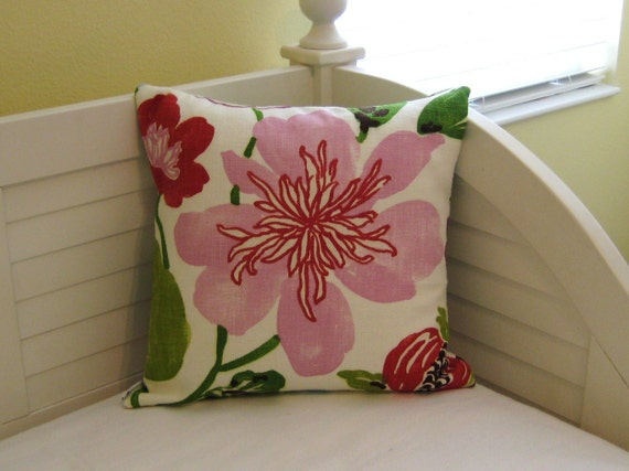 "Braemore Gorgeous in Petal with Pink Flower  18""x18 Pillow Cover"
