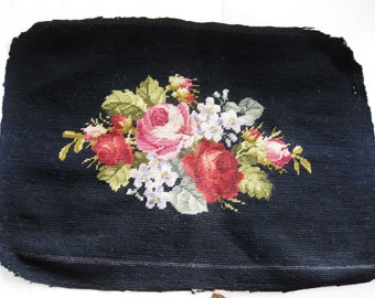 Floral Rose Needlepoint Vintage Antique
