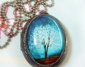 Blue Locket Sapphire Wind -- Wearable Art SilverLocket Necklace---Mothers Day Gift.Christmas gift.Valentine's Gift
