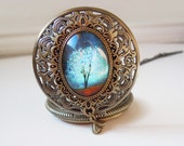 Sapphire Wind -- Wearable Art Locket style Pocket watch-Christmas gift.Mother's Day gift.tree necklace.Pocket watch necklace