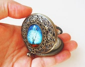 Wearable Art Pocket watch-- Gift.blue-Christmas gift