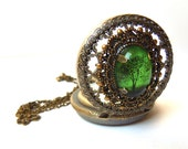 Emerald Bewitched  -- Wearable Art Pocket watch necklace-Valentine's  Gift.tree necklace