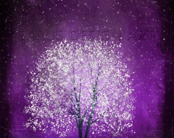 Violet Daze -- 8x10  Tree Art Print-purple .Christmas gift
