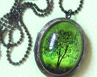 Emerald Bewitched Wearable Art Silver Locket Necklace-tree locket photo locket Valentine's Gift.Mothers Day gift bridesmaid Valentines day