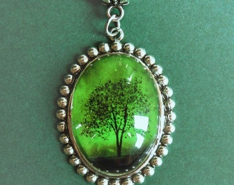 Emerald Bewitched -- Wearable Art Cameo Necklace-Christmas gift
