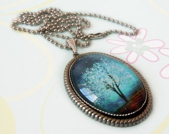 Sapphire Wind -- Large Wearable Art Cameo Necklace.blue-Christmas gift