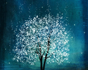 Spirit of Water -- Mool-eh Jung Lyung Su in Korean -- 11x14 tree art print giclee print,art collectibles,wall art,wall decor,wall decor