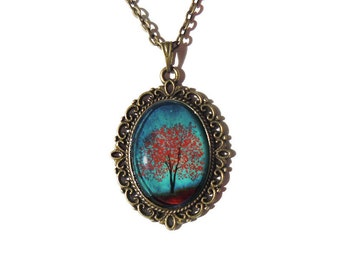 Maple Fall -- Wearable Art Cameo Necklace