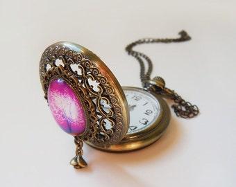 Violet Daze  -- Wearable Art Pocketwatch Necklace