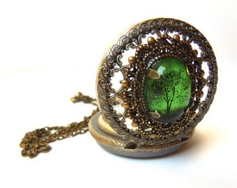 Emerald Bewitched  -- Wearable Art Pocket watch necklace-Valentine's  Gift.tree necklace Valentines day