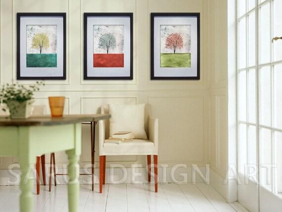 Color Tree Series -- Set of Three -- 11x14 Tree Art Print.giclee print,art collectibles,wall art,wall decor