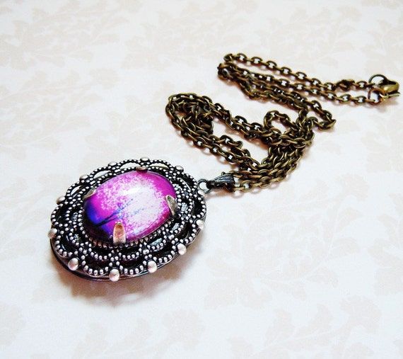 Violet Daze --Small  Wearable Art Locket -- tree locket.purple.Christmas gift,Valentine's Gift
