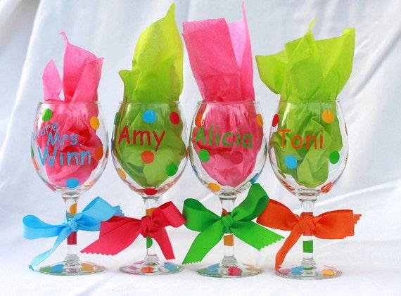 Personalized Wine Glasses Wedding Party Graduation Birthday Bachelorette