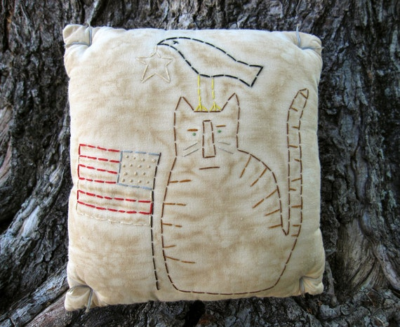 Primitive Patriotic CAT Crow Hand Embroidered Pillow - rustic country decor
