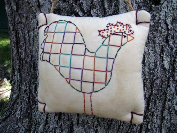 Primitive Kitchen Rooster Decor - Hand Embroidery - CLEARANCE SALE