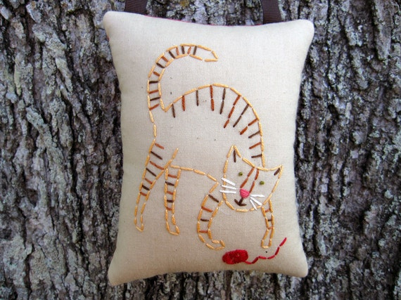 Clearance SALE 50 off Happy Cat Decor, Orange TABBY CAT, Primitive Cat Embroidery Door Hanger - Hand Stitched Stitchery
