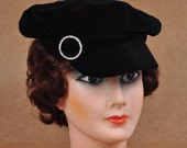Vintage black velvet 6 panel women's newsboy cap with rhinestone buckle