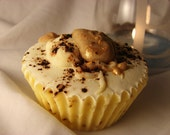 Lemon Ganache Cupcake Soap, with Cocoa Butter and Coffee Exfoliate. All Natural, Vegan, Organic