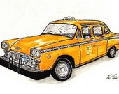 RESERVED FOR ALISON...1970's New York City Cab (6x9) Original Pen, Ink & Watercolor Drawing