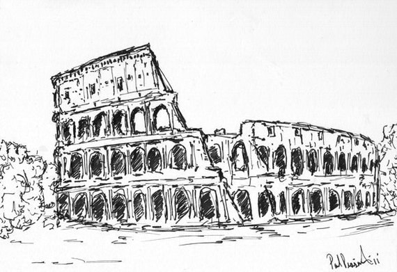 Original Colosseum Abstract Pen Amp Ink Sketch 5x7 On 8x10