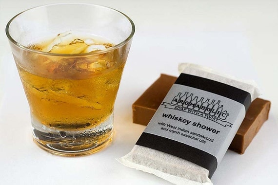 Whiskey Shower soap - scotch scented bourbon bar - whiskey-scented handmade soap