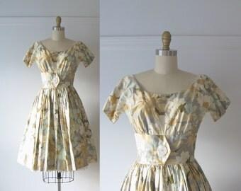 vintage 1950s dress / 50s pastel floral dress