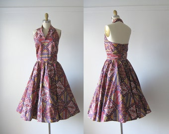 SALE vintage 1950s dress / 50s halter sun dress