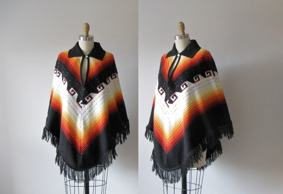 vintage 1970s poncho / 70s poncho / Campfire Song