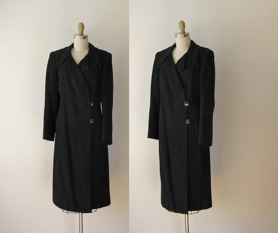 vintage 1940s coat / art deco wool coat