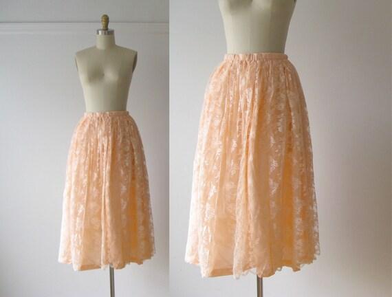 vintage lace skirt / Peach Lace skirt
