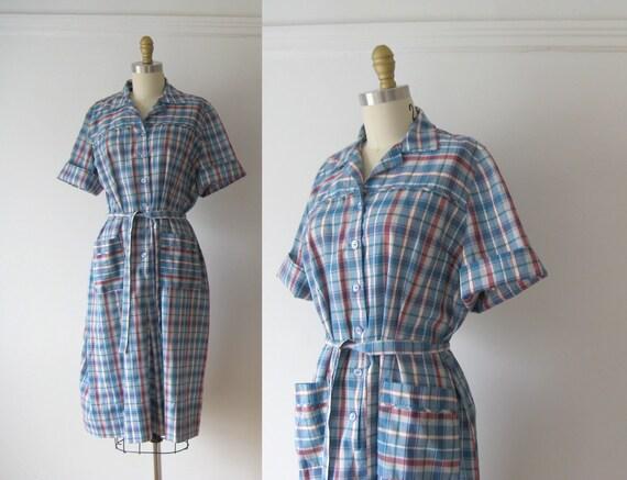 vintage 1960s dress / plaid day dress