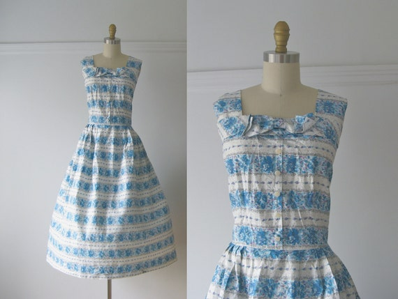 vintage 1950s dress / 50s dress / Spring Clouds