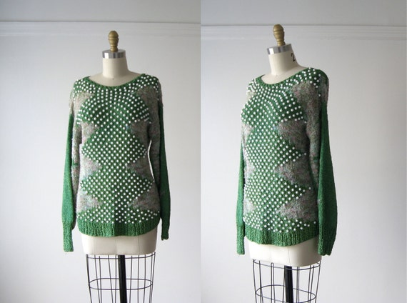 vintage knit top / crochet and bead sweater