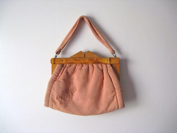 vintage 1940s wood handle bag