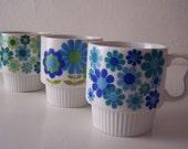 mugs vintage mod floral set of five