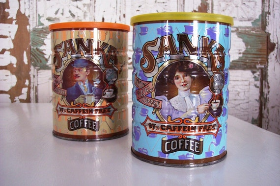 Sanka coffee tin victorian set of two for him and her 1980s coffee can with lid