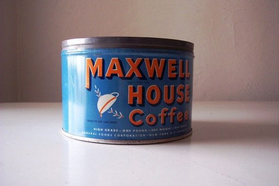 Maxwell House coffee tin 1950's 1960's
