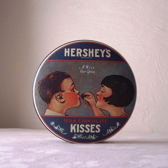hersheys chocolate kisses candy tin 1980s vintage advertising