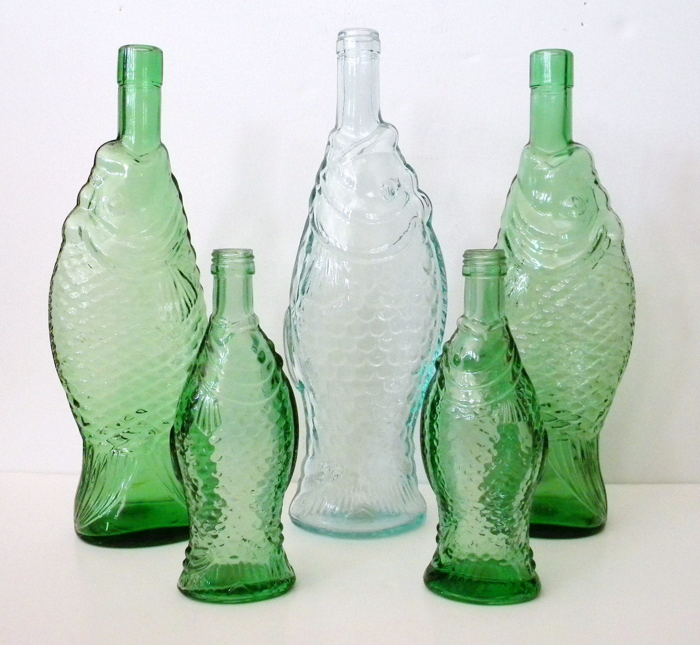Reserved for sheryl green glass fish shaped wine bottle 13 for Wine with fish