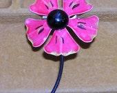 Hot Pink Flower Brooch