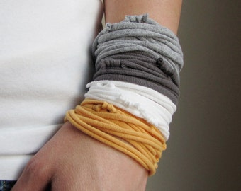 AnnDora - Yellow & Gray T Shirt Bracelet or Necklace