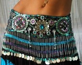 Perfectly Beautiful beaded sequined Belly Dance belt in turquoise purple aqua silver and black