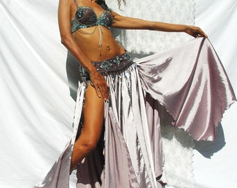 Belly Dance Costume Set LORELEI - silver grey purple sequined beaded belly dance bra and belt with matching silver grey satin skirt