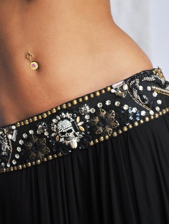 Perfectly Beautiful beaded sequined Belly Dance Belt in black and metallics with a Crystal Skull