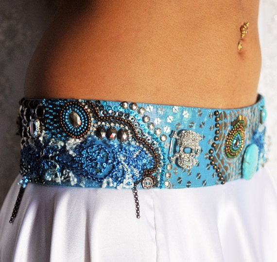 Belly Dance Belt in turquoise, silver and a bit of peacock