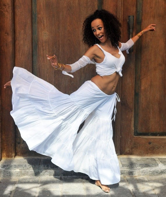 Cake Pants in white - super flared tiered Tribal Belly Dance Pants