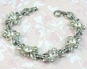 Vintage Clear Crystal Bracelet with Swarovski Rhinestones