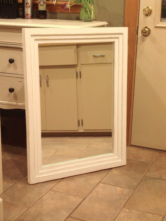 White Distressed Mirror Painted Wood Large By Kennethdante