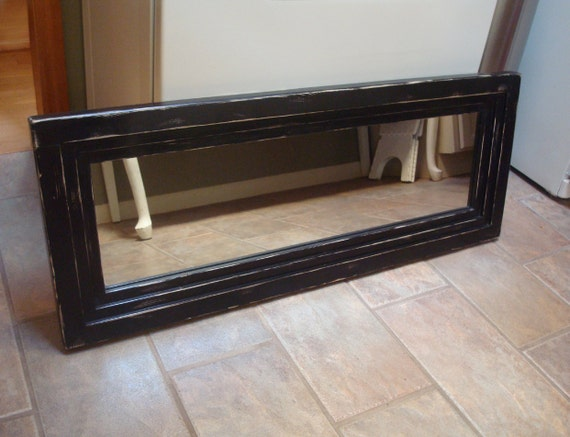 Distressed wood mirror black wall mirror rustic by for Long black wall mirror